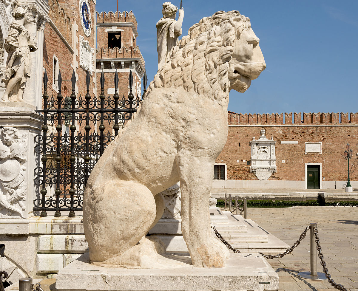 Piraeus Lion, stone statue of lion sitting