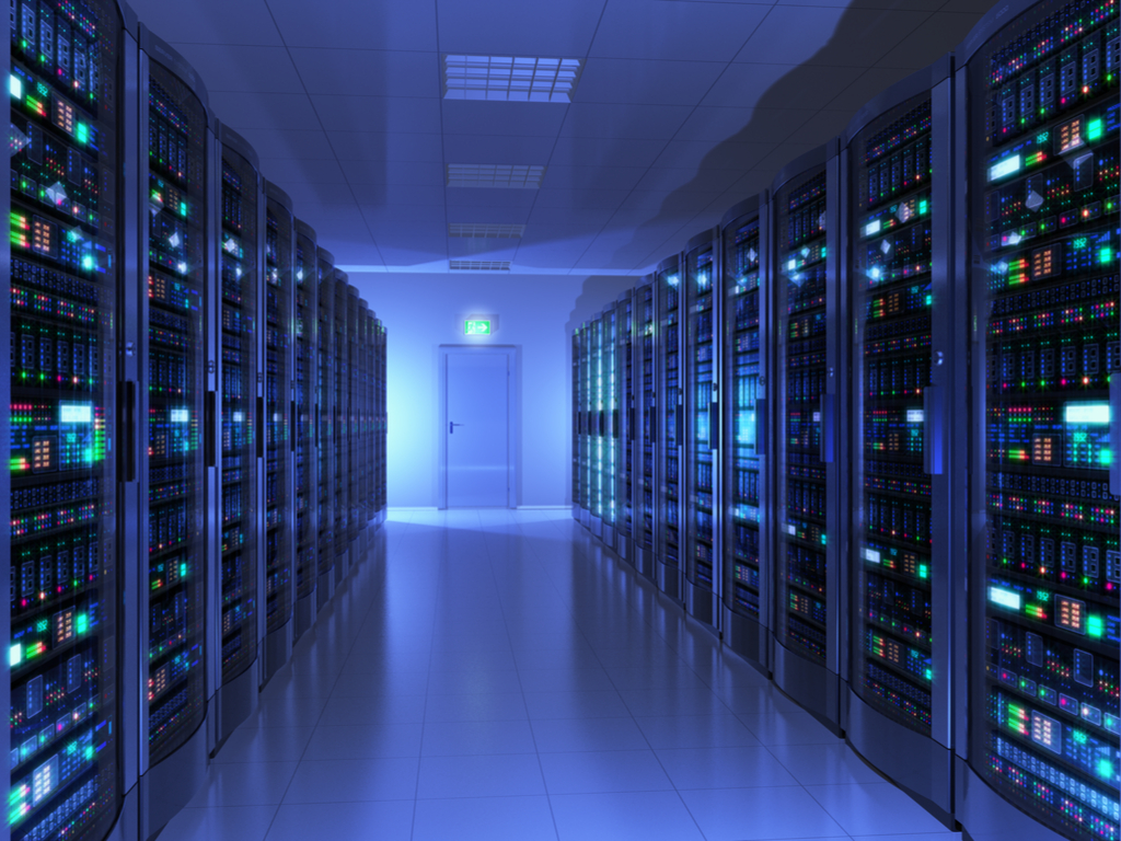 Servers in racks in data center